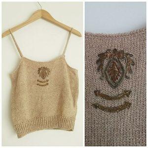 Vintage JJ Orr knit tank top sweater unique patch